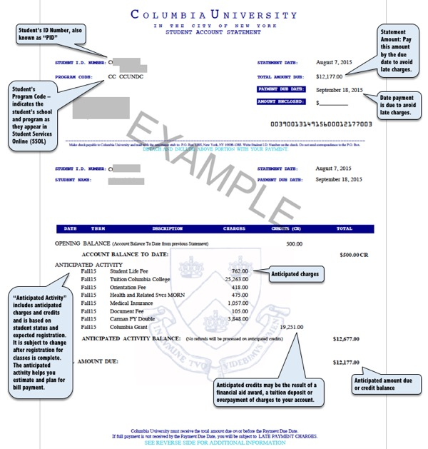 Image of Example PDF Student Account Statement