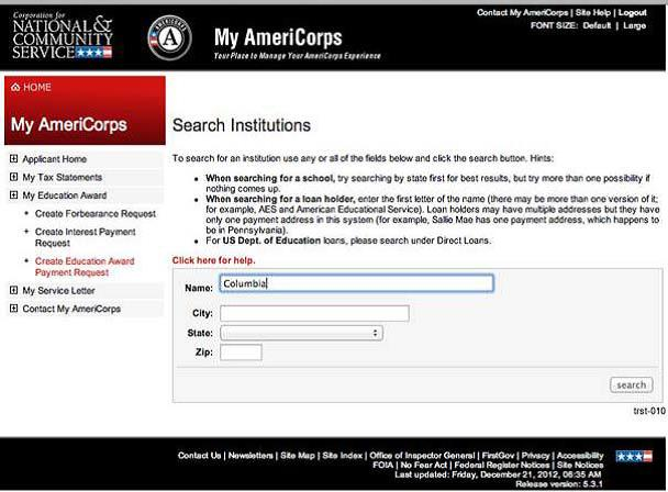 Image of AmeriCorps Search Institutions Page