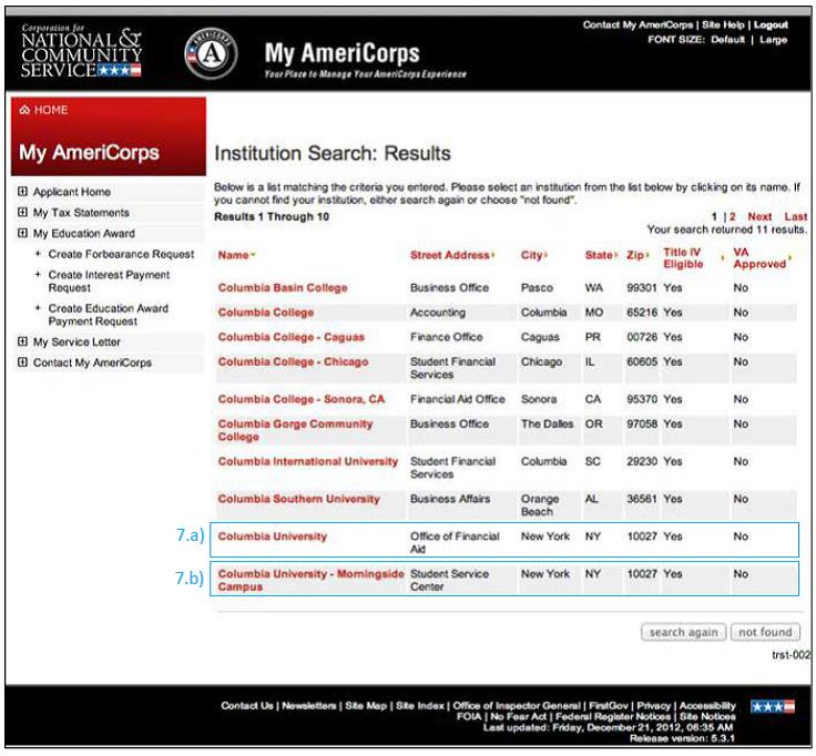 Image of AmeriCorps Institution Search Results